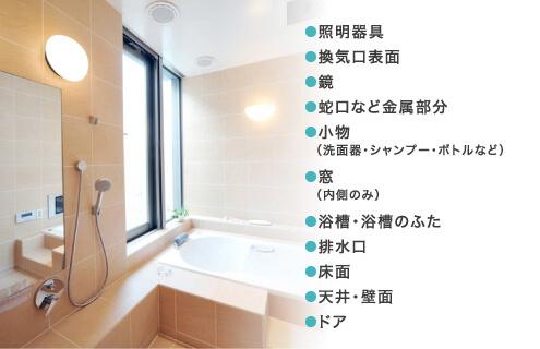 天井から壁面、浴槽、床、ご家庭では手が回らない全体をピカピカに